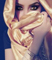 Silk Gold Hijab Stock by Desert-Winds