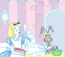 Chesire Bakery-Alice and Hare by flewyesterday