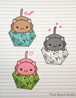 Chibi Cat on d20 Stickers and Magnets by pixelboundstudios