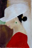 Profile of woman with hat by Moenn
