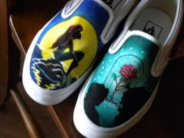 Ariel/Beauty and the Beast shoes by kategatsby