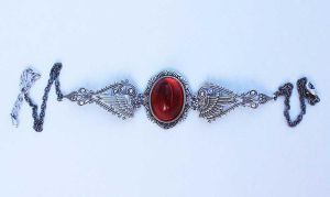 Ruby red winged necklace by Pinkabsinthe