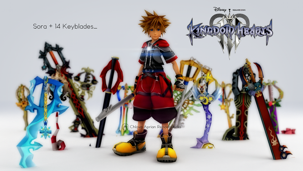 [Kingdom Hearts 3] Sora + 14 Keyblades by krvrian