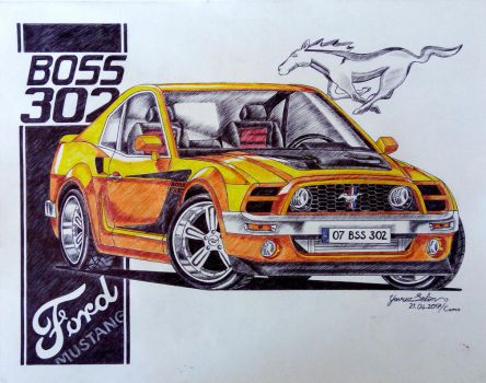 1975 Ford Mustang Boss 302 drawing. by YavuzSelim07