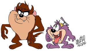 Tasmanian Devil and Dizzy Devil by TuxedoMoroboshi