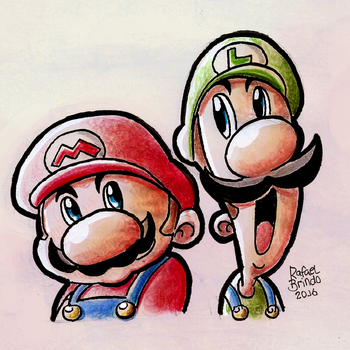 Mario and Luigi by rfl-obc