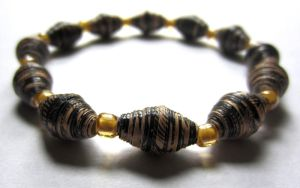 Rustic Brown and Yellow Paper Bead Bracelet by Fallingfreely