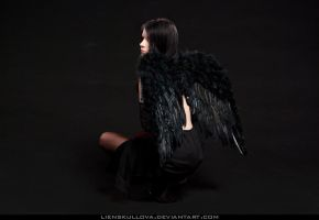 STOCK - Girl with Black Wings (Back) by LienSkullova
