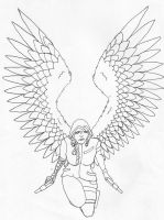 Angel of Night (line art) by Little-Mad-Hatter992