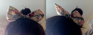 Pink and Yellow Floral Hair Bow by JunieChan