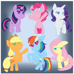 Mane 6 chibis by Luckynight48