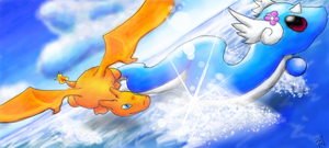 Charizard and Dragonair by tarapanda44