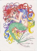 Mermaid with colourful hair by Sulfura