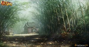 Bamboo Surrounded Houses (Concept Art) by Age-of-Wushu