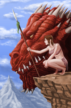 Dragon and woman by Omegaprimus