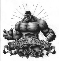 Hulk tattoo design Black and Grey version 2 by funkt-green