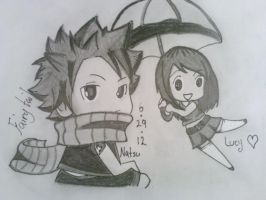 Natsu and Lucy chibi by JustiCmo