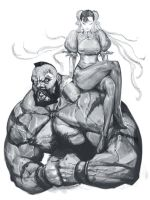 Chun Li and Zangief by masateru