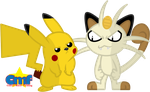 Pikachu and Meowth by Tiny-Toons-Fan