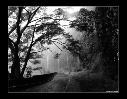 Black and White Waterfall 01 by aravii