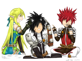 Three Friends Playing Elsword by GaleSpider