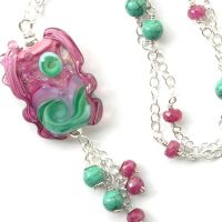 Necklace in Pink and Blue by sarahhornik