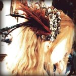 Red Burlesque Hair Fascinator by Om-Society