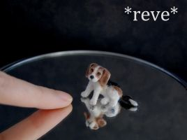 OOAK Handmade Miniature Beagle Puppy Dog Sculpture by ReveMiniatures