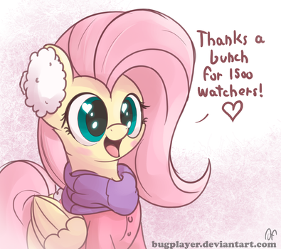 Fluttershy special 1500 watchers by Bugplayer