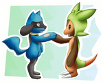Chespin and Riolu by prankster-kun