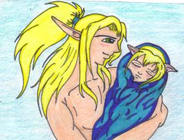 Father and newborn son .colors by Amazair