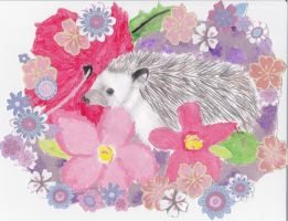 Tropical Flowers and a Hedgehog with more flowers by Snivy94