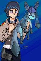 Hinata and Glaceon by retroblade