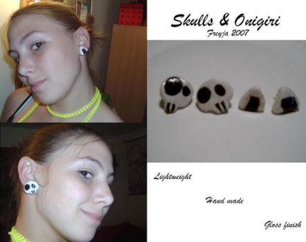 Onigiri and Skull Earrings by BlackCat713