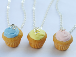 Pastel Cupcake Necklaces by ClayRunway