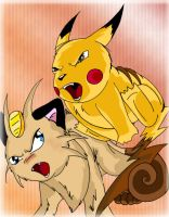 Meowth VS Pikachu by KillerSandy