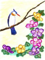 Bird and Flowers Watercolor Painting by zinneart