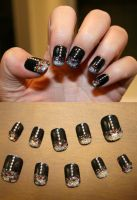 Red Drips Balck Nails by Kit-Kat-Choco
