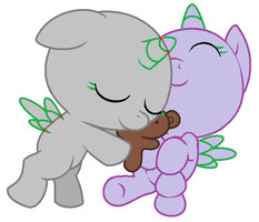 MLPFIM Base - Cuddling babies by Pupster0071