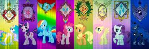 Mane 6 and Princess's by AHZADR