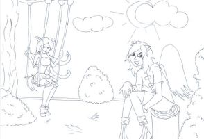 Mira and Neo Lucie in Park by TitanKitty