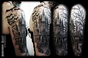 Haunted Castle Half Sleeve by OnTheLastRoad