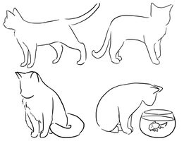 Four Cat Poses by DrunkOnTea