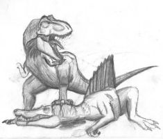 Spino vs. T rex by adamid4