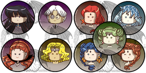 Sailormoon Buttons S Villains by kuroitenshi13
