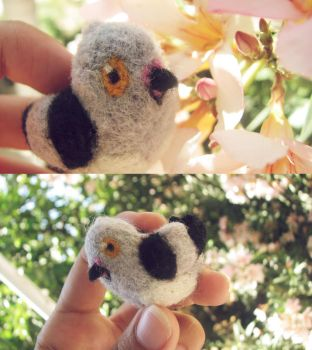 Needle felted Pidove by ritsu--chan