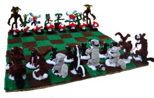 Pipe Cleaner Chess set by pipecleanerking