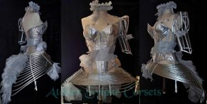 Silver plastic overbust corset by AtelierSylpheCorsets