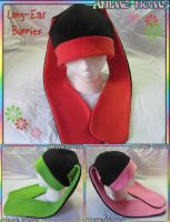 Long Ear Bunny Fleece Hats for SALE by AnimeNomNoms