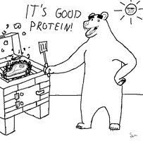 a bear that is grilling some meat by shook12